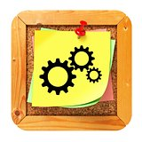 Cogwheel Gear Icon - Sticker on Message Board.