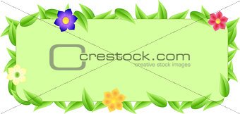 Green border made of leaves and flowers with space text