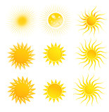 Set of suns isolated on a white background
