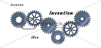 Abstract steel cogs as idea conception