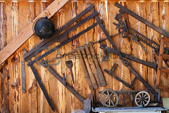 Old tools in wood shed