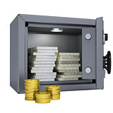 Wads of money and coins in a safe