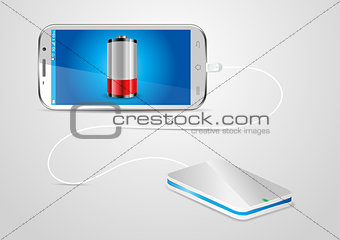 Charging a mobile phone with a powerbank - vector illustration