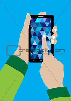 Modern Touchscreen Mobile Phone and Hand - Vector Illustration