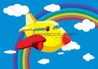 Cartoon Airplane in the Rainbow Sky - Vector Illustration