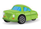 Green Retro / Vintage Car Cartoon - Vector Illustration