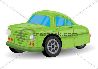 Green Retro / Vintage Car Cartoon - Vector Illustration