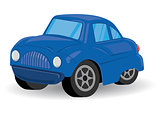 Blue Sports Utility Vehicle Car Cartoon - Vector Illustration
