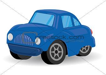 Blue Sports Utility Vehicle Car Cartoon - Vector Illustration
