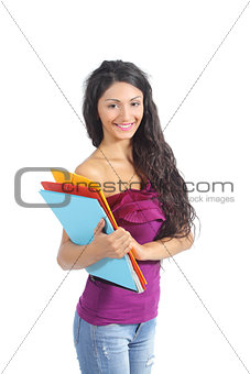 Beautiful student girl posing with folders