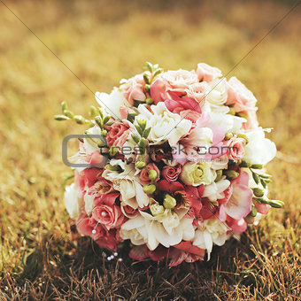 Wedding bouquet on grass