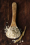 organic oat flakes in a wooden spoon