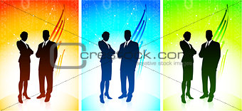 Businessman and Businesswoman with Binary Code Background