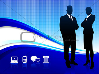 Businessman and Businesswoman on abstract blue background