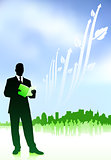 Businessman with Green Skyline Background