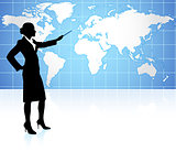 Businesswoman presenting World Map Background