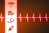 Medical Icons on Heart Rate Pulse Background