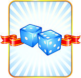 Blue Dice on Ribbon Background