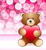 Teddy Bear on Glowing Background