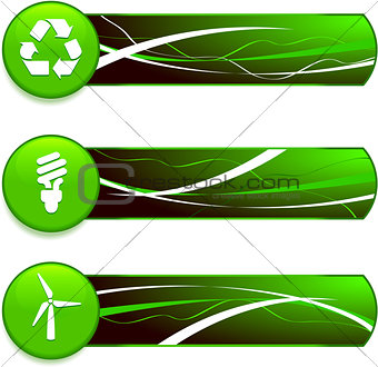 Green Nature Icons on Internet Buttons with Banners