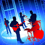 Live Music Band on Film Reel Background