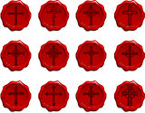 Religious Cross Wax Seal Set