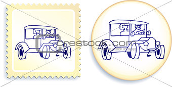 Old Styel Car on Button and Stamp Set