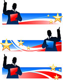 Business executive with patriotic banners