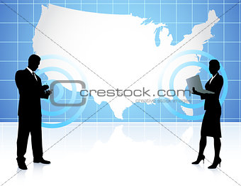 Businessman and Businesswoman Communication with Map