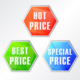 hot, best, special price, three colors hexagons labels