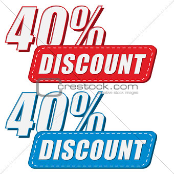 40 percentages discount in two colors labels, flat design