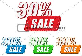 30 percentages sale, four colors labels