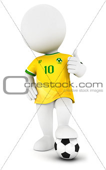 3d white people soccer player with yellow jersey