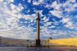 A beautiful morning sky over Palace Square, Saint-Petersburg, Ru