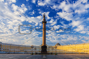 A beautiful morning sky over Palace Square, Saint-Petersburg, Ru