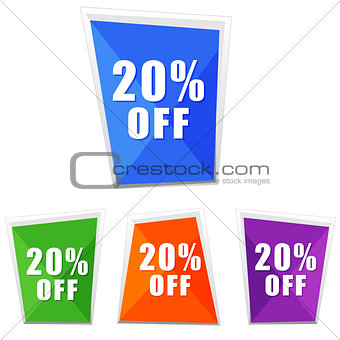 20 percentages off, four colors labels
