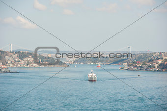 Aerial view down the Bosphorus River in Istanbul