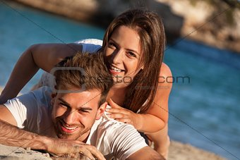 attractive young couple in love having fun in summer holidays