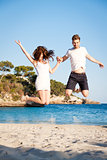 happy young couple having fun in summer holiday vacation