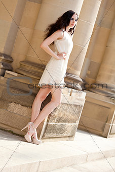 beautiful woman fashion outdoor in summer