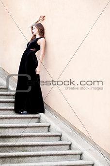 beautiful woman in long dress fashion outdoor