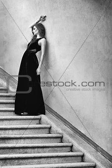 beautiful woman in long dress fashion outdoor