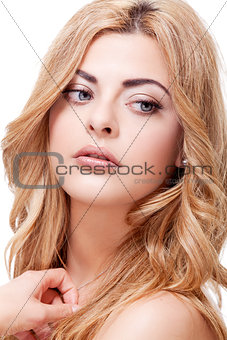 attractive beautiful blond woman portrait