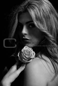 beautiful woman and flower in monochrome