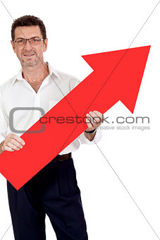 adult smiling businessman red signboard pointing isolated