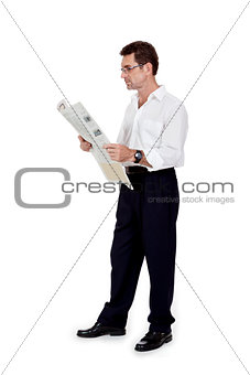 attractive adult businessman reading newspaper isolated