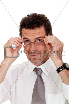 adult businessman with glasses portrait isolated