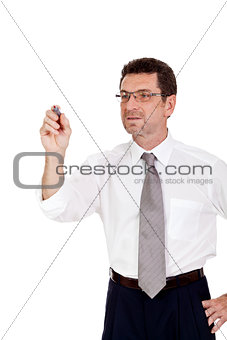 smiling adult businessman write with red pen isolated copyspace