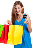 happy young woman with colorful shopping bags visa isolated