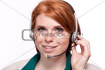 smiling business woman callcenter agent operator isolated portrait